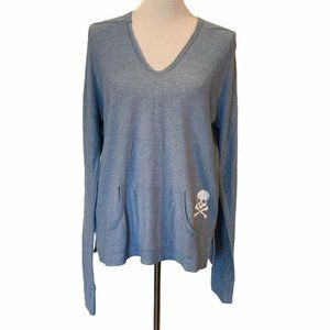 SoulCycle Womens Hoodie Blue Skull Pullover V Neck
